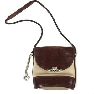 Vintage 1996 Brighton Leather Purse Brown Cream